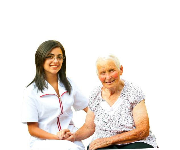 caregiver and a old woman holding hands while sitting