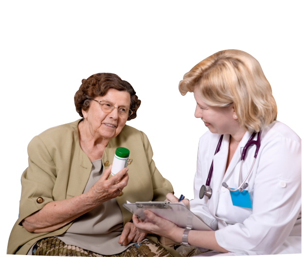 old woman asking a caregiver about her medicine