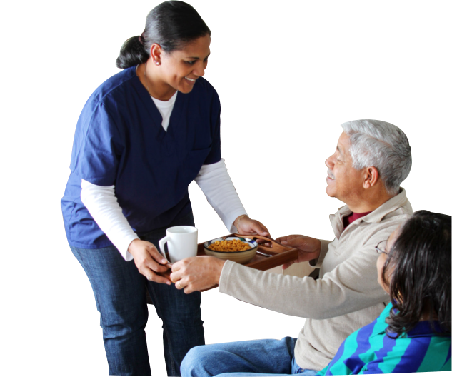 caregiver serving foods to an old couple