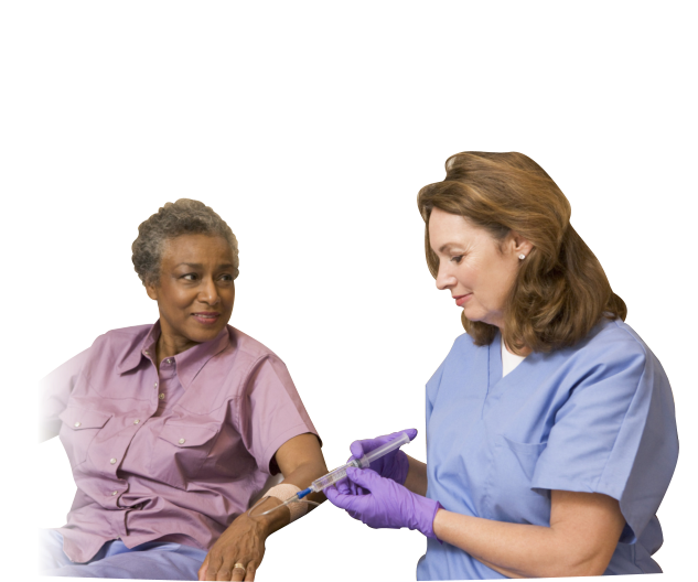 a caregiver injects an medicine to an old woman