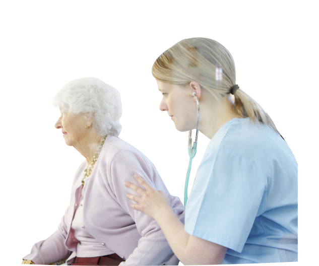 caregiver having a check up to an old woman