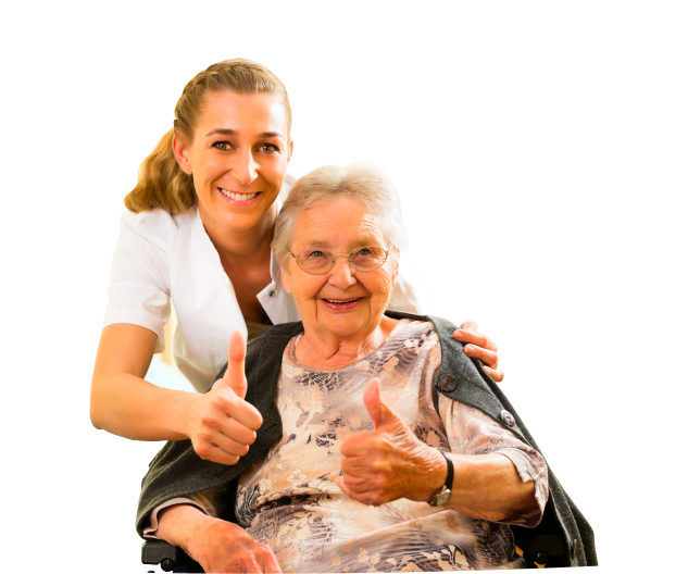 caregiver and and old woman having a thumbs up
